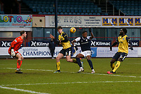 20th February 2021; Dens Park, Dundee, Scotland; Scottish Championship Football, Dundee FC versus Queen of the South; Jonathan Afolabi of Dundee fills to make contact with a cross late in the match