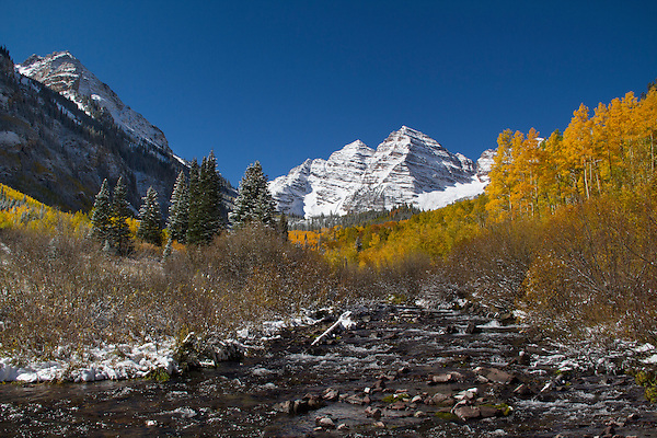 Maroon Creek with autumn Aspen trees, Maroon Bellls Peaks, Aspen, Colorado, John offers fall foliage photo tours throughout Colorado.