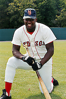 New Britain Red Sox first baseman Mo Vaughn poses for a photo prior to a game at Beehive Field in New Britain, Connecticut during the 1989 season.  (Ken Babbitt/Four Seam Images)
