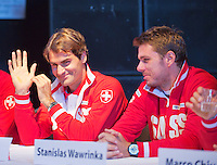 13-09-12, Netherlands, Amsterdam, Tennis, Daviscup Netherlands-Swiss,  Draw, Roger Federer and Stanislas Wawrinka(R)