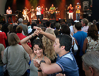 People dancing during a concert held at the annual Göteborgskalaset festival.