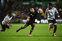 17th July 2021; Hamilton, New Zealand;  Richie Mo'unga evades a challenge.<br /> All Blacks versus Fiji, Steinlager Series, international rugby union test match. FMG Stadium Waikato, Hamilton, New Zealand.