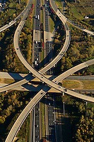.Aerial view of Charlotte highways. Image shows intersection of I-485 and I-77.