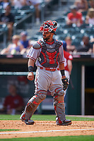 Syracuse Chiefs catcher Jhonatan Solano (23) during a game against the Buffalo Bisons on July 31, 2016 at Coca-Cola Field in Buffalo, New York.  Buffalo defeated Syracuse 6-5.  (Mike Janes/Four Seam Images)