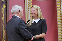 Dominique Vien is sworn in as Ministre responsable du Travail (Minister responsible for Labour) of the new Liberal cabinet at the National Assembly in Quebec city October 11, 2017.<br /> <br /> PHOTO :  Francis Vachon - Agence Quebec Presse