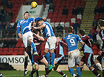 St Johnstone v Stenhousemuir…21.01.17  McDiarmid Park  Scottish Cup<br />Joe Shaughnessy and Keith Watson battle to win a corner<br />Picture by Graeme Hart.<br />Copyright Perthshire Picture Agency<br />Tel: 01738 623350  Mobile: 07990 594431