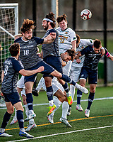 9 April 2021: University of New Hampshire Wildcat Men's Soccer Forward Paul Mayer, a Graduate Student from Strasbourg, France and Backfielder Victor Menudier, a Senior from Limoges, France, go up against University of Vermont Catamount Defender Noah Egan, a Sophomore from Irvine, CA, in second-half action at Virtue Field in Burlington, Vermont. The Wildcats defeated the Catamounts 2-1 in America East, Division 1 play. Mandatory Credit: Ed Wolfstein Photo *** RAW (NEF) Image File Available ***