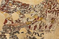 Europe/France/Aquitaine/24/Dordogne/Jumilhac-le-Grand: Château de Jumilhac -Peinture murale de la  Chambre de la Fileuse, Louise de Hautefort, incarcérée pendant 30 ans dans le donjon féodal.resque avec le soleil, la lune, saturne, vénus, qui sont des thèmes chers aux alchimistes.
