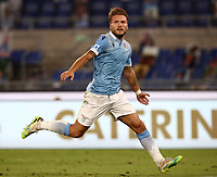 Football, Serie A: S.S. Lazio - Brescia, Olympic stadium, Rome, July 29, 2020. <br /> Lazio's Ciro Immobile celebrates after scoring during the Italian Serie A football match between S.S. Lazio and Brescia at Rome's Olympic stadium, Rome, on July 29, 2020. <br /> UPDATE IMAGES PRESS/Isabella Bonotto