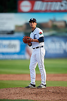 Connecticut Tigers relief pitcher Robbie Welhaf (31) gets ready to deliver a pitch during a game against the Lowell Spinners on August 26, 2018 at Dodd Stadium in Norwich, Connecticut.  Connecticut defeated Lowell 11-3.  (Mike Janes/Four Seam Images)