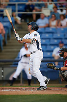 Binghamton Rumble Ponies first baseman Cody Decker (12) follows through on a swing during a game against the Altoona Curve on May 17, 2017 at NYSEG Stadium in Binghamton, New York.  Altoona defeated Binghamton 8-6.  (Mike Janes/Four Seam Images)