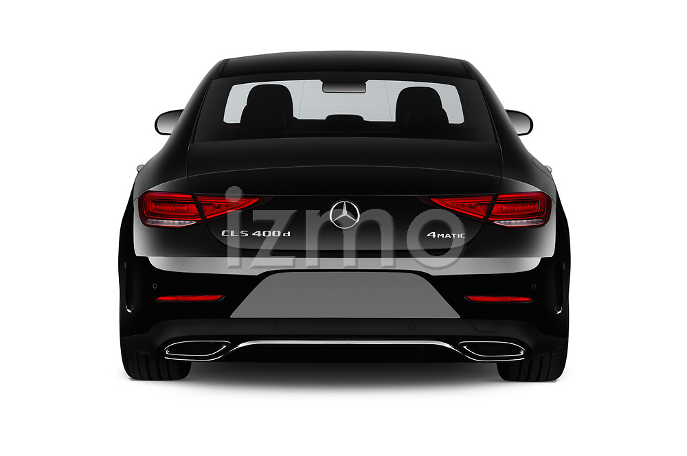 Straight rear view of a 2019 Mercedes Benz CLS Coupe AMG line 4 Door Sedan stock images