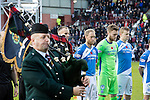 Hearts v St Johnstone…05.11.16  Tynecastle   SPFL<br />A lone piper plays before kick off<br />Picture by Graeme Hart.<br />Copyright Perthshire Picture Agency<br />Tel: 01738 623350  Mobile: 07990 594431