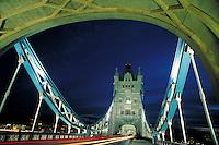 Tower Bridge at night. London, England. London, England.