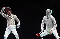 210724 -- TOKYO, July 24, 2021 -- Italy s Luigi Samele L celebrates during the men s Sabre Individual table of 32 at Tokyo 2020 Olympic Games, Olympische Spiele, Olympia, OS in Tokyo, July 24, 2021.  TOKYO2020JAPAN-TOKYO-OLY-MEN-FENCING-SABRE INDIVIDUAL ZhangxHongxiang PUBLICATIONxNOTxINxCHN<br /> Photo XINHUA / Imago  / Insidefoto ITALY ONLY