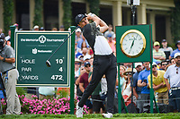 4th June 2021; Dublin, Ohio, USA; Jordan Spieth (USA) watches his tee shot on 10 during the Memorial Tournament Rd2 at Muirfield Village Golf Club on June 4, 2021 in Dublin, Ohio.