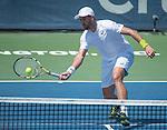 Steve Johnson (USA) loses to Ivo Karlovic (CRO) 6-4, 6-4, at the Citi Open being played at Rock Creek Park Tennis Center in Washington, DC, .  ©Leslie Billman/Tennisclix