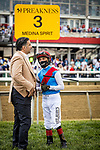 MAY 15, 2021: Owner Amr Zedan with John Velazquez before the Preakness Stakes at Pimlico Racecourse in Baltimore, Maryland on May 15, 2021. EversEclipse Sportswire/CSM