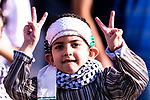A little Palestine soccer fan shows support for their team during the AFC Asian Cup UAE 2019 Group B match between Palestine (PLE) and Australia (AUS) at Rashid Stadium on 11 January 2019 in Dubai, United Arab Emirates. Photo by Marcio Rodrigo Machado / Power Sport Images