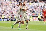 Real Madrid's James Rodriguez and Cristiano Ronaldo celebrating a goal during La Liga match between Real Madrid and Sevilla FC at Santiago Bernabeu Stadium in Madrid, May 14, 2017. Spain.<br /> (ALTERPHOTOS/BorjaB.Hojas)