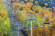 Chairlift along the the Mittersill-Cannon Trail on Mittersill ski mountain in the White Mountains, New Hampshire during the autumn months.