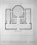 Pittsburgh PA:  View of a drawing created by Ingram & Boyd Architects of the new Buhl Planetarium.  This view is the initial 1st-floor layout of the planetarium. The project was completed in 1939.  The Buhl Planetarium was built with monies from the Buhl Foundation; a foundation created by the wealthy North Side clothier Henry Buhl of Boggs and Buhl department store fame.  Brady Stewart was selected for the job due to his specialized equipment; an 8x10 Dierdorff camera, and his expertise in lighting and photographing large renderings and drawings.