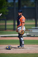 Houston Astros catcher Oscar Campos (62) during a Minor League Spring Training Intrasquad game on March 28, 2019 at the FITTEAM Ballpark of the Palm Beaches in West Palm Beach, Florida.  (Mike Janes/Four Seam Images)