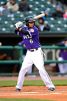 Louisville Bats outfielder Billy Hamilton #6 during a game against the Indianapolis Indians on April 19, 2013 at Louisville Slugger Field in Louisville, Kentucky.  Indianapolis defeated Louisville 4-1.  (Mike Janes/Four Seam Images)