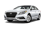 Stock pictures of low aggressive front three quarter view of 2017 Hyundai Sonata-Hybrid Hybrid 4 Door Sedan Low Aggressive