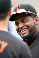 Pablo Sandoval #48 of the San Francisco Giants before game against the Los Angeles Dodgers at Dodger Stadium in Los Angeles,California on April 3, 2011. Photo by Larry Goren/Four Seam Images