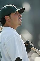 Omar Quintanilla of the Modesto Athletics before a 2004 season California League game against the Island Empires 66ers at San Manuel Stadium in San Bernardino, California. (Larry Goren/Four Seam Images)