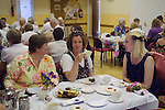 Nether Stowey Female Friendly Society ( The Womens Walk ) Club Day. Cream tea in the Village Hall. - £5.00.<br /> Nether Stowey Somerset UK 2014.