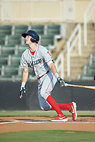 McCarthy Tatum (28) of the Lakewood BlueClaws follows through on his swing against the Kannapolis Intimidators at Kannapolis Intimidators Stadium on July 18, 2019 in Kannapolis, North Carolina. The Intimidators defeated the BlueClaws 7-1. (Brian Westerholt/Four Seam Images)