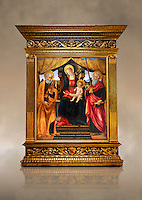 Gothic altarpiece of Madonna and Child with St Peter and Paul by Vicenzo Frediani, circa 1490, tempera and gold leaf on wood.  National Museum of Catalan Art, Barcelona, Spain, inv no: MNAC  64978. Against a art background.