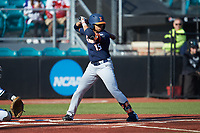 TaylorJackson (15) of the Illinois Fighting Illini at bat against the Coastal Carolina Chanticleers at Springs Brooks Stadium on February 22, 2020 in Conway, South Carolina. The Fighting Illini defeated the Chanticleers 5-2. (Brian Westerholt/Four Seam Images)