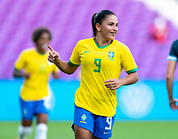ORLANDO, FL - FEBRUARY 18: Debinha #9 of Brazil celebrates during a game between Argentina and Brazil at Exploria Stadium on February 18, 2021 in Orlando, Florida.