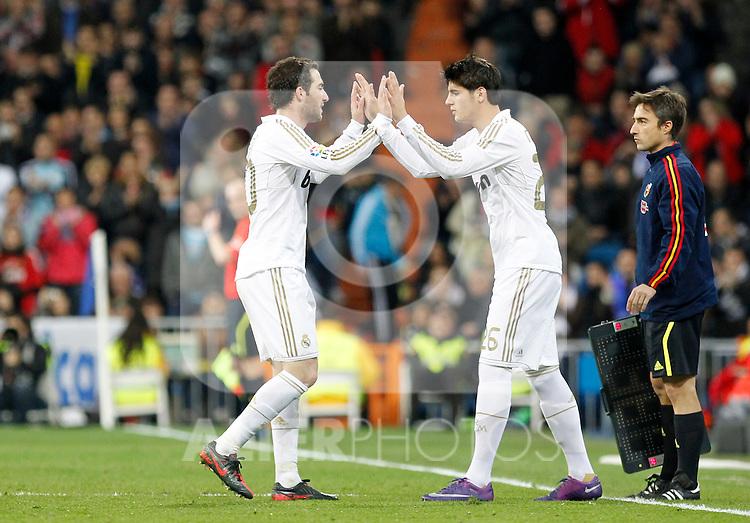 Madrid (04/03/2012).-Estadio Santiago Bernabeu..Liga BBVA..Real Madrid - Espanyol.Higuain , Morata...©Alex Cid-Fuentes/ALFAQUI FOTOGRAFIA.........