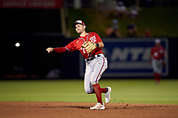 Washington Nationals shortstop Trea Turner (7) throws to first base during a Major League Spring Training game against the Houston Astros on March 19, 2021 at The Ballpark of the Palm Beaches in Palm Beach, Florida.  (Mike Janes/Four Seam Images)