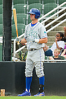 Bubba Starling (11) of the Lexington Legends waits for his turn to bat against the Kannapolis Intimidators at CMC-Northeast Stadium on July 31, 2013 in Kannapolis, North Carolina.  The Intimidators defeated the Legends 3-2.  (Brian Westerholt/Four Seam Images)