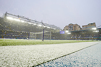 General view of Stamford Bridge, home of Chelsea football club as snow falls ahead of the FA Cup 4th round behind closed doors match between Chelsea and Luton Town at Stamford Bridge, London, England on 24 January 2021. Photo by David Horn.