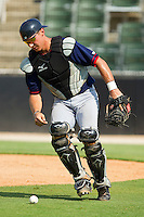 Catcher Cole Leonida #13 of the Hagerstown Suns chases down a wild pitch during the South Atlantic League game against the Kannapolis Intimidators at Fieldcrest Cannon Stadium on May 30, 2011 in Kannapolis, North Carolina.   Photo by Brian Westerholt / Four Seam Images