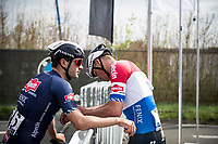 A dissapointed Mathieu Van der Poel (NED/Alpecin-Fenix) has lost the finish sprint against Kasper Asgreen (DEN/Deceuninck - Quick Step)<br /> <br /> 105th Ronde van Vlaanderen 2021 (MEN1.UWT)<br /> <br /> 1 day race from Antwerp to Oudenaarde (BEL/264km) <br /> <br /> ©kramon