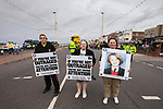 © Joel Goodman - 07973 332324 . 28/05/2011 . Blackpool, UK . The family of missing teenager Charlene Downes , including her mother KAREN DOWNES (r), join 2,000 people at an English Defence League demonstration. The EDL say the protest was organised after the failed prosecution of local takeaway owners who they allege are responsible for the disappearance and suspected murder of 14 year old Charlene Downes. Photo credit : Joel Goodman