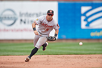 Altoona Curve third baseman Hunter Owen (10) fields a ground ball during an Eastern League game against the Erie SeaWolves on June 5, 2019 at UPMC Park in Erie, Pennsylvania.  Altoona defeated Erie 6-2.  (Mike Janes/Four Seam Images)