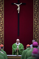 Pope Francis attends a closing Mass of 'The Protection Of Minors In The Church' meeting at the Regia Hall at the Apostolic Palace, Vatican on February 24, 2019.