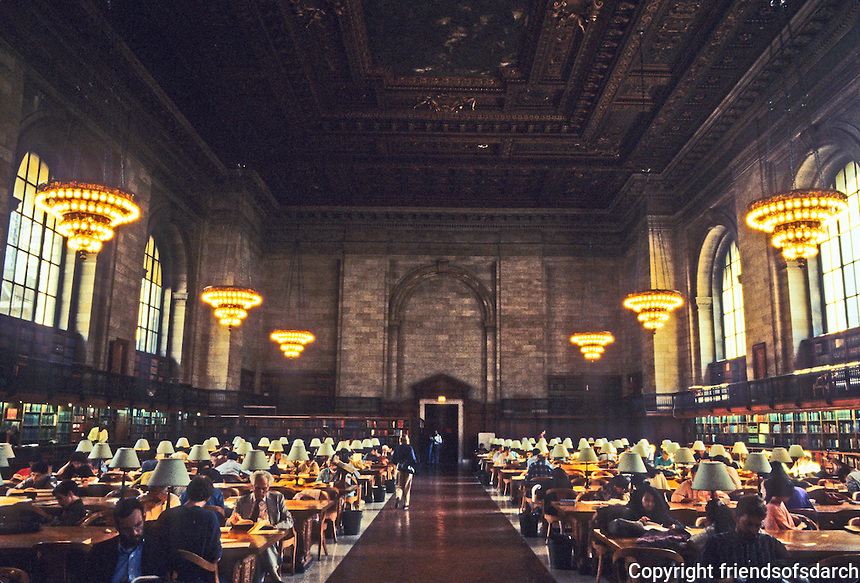 New York: N.Y. Public Library, Reading Room. Largest uncolumned space in New York. Dimensions: 297 ' x 78', 52 ft. high. Photo '91.