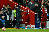 Liverpool Manager Jurgen Klopp congratulates Roberto Firmino of Liverpool as he is substituted during the UEFA Champions League Quarter Final first leg match between Liverpool and Porto at Anfield on April 9th 2019 in Liverpool, England. (Photo by Daniel Chesterton/phcimages.com)<br /> Foto PHC/Insidefoto <br /> ITALY ONLY