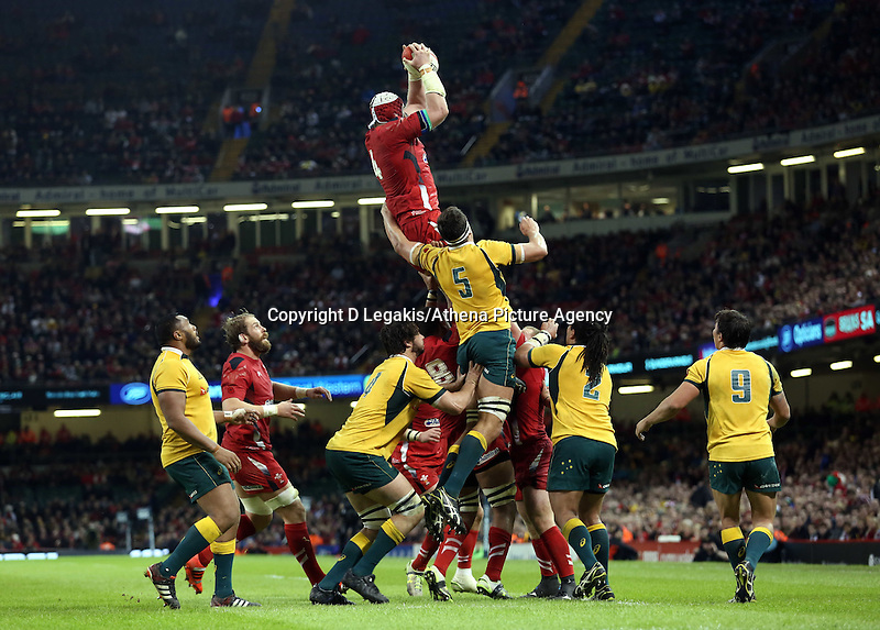 Pictured: Jake Ball for Wales catches the ball from a line-out. Saturday 08 November 2014<br /> Re: Dove Men Series rugby, Wales v Australia at the Millennium Stadium, Cardiff, south Wales, UK.