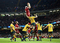 Pictured: Jake Ball for Wales catches the ball from a line-out. Saturday 08 November 2014<br />