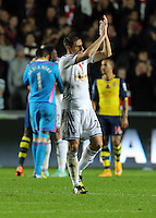 Sunday 09 November 2014 <br /> Pictured: Angel Rangel of Swansea<br /> Re: Barclays Premier League, Swansea City FC v Arsenal City at the Liberty Stadium, Swansea, Great Britain.